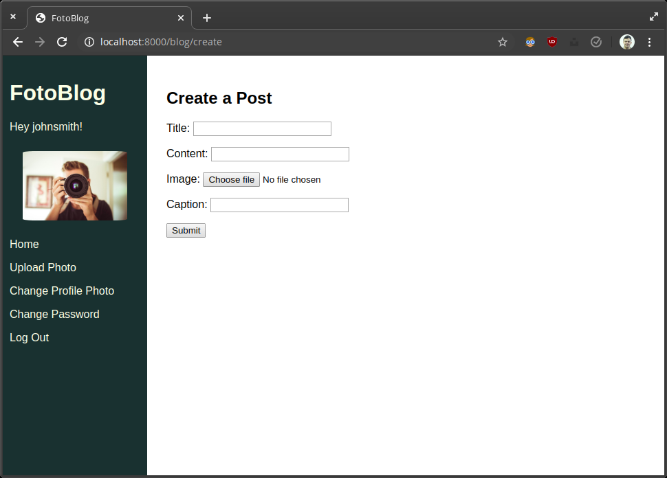 Screenshot of blog and photo upload page