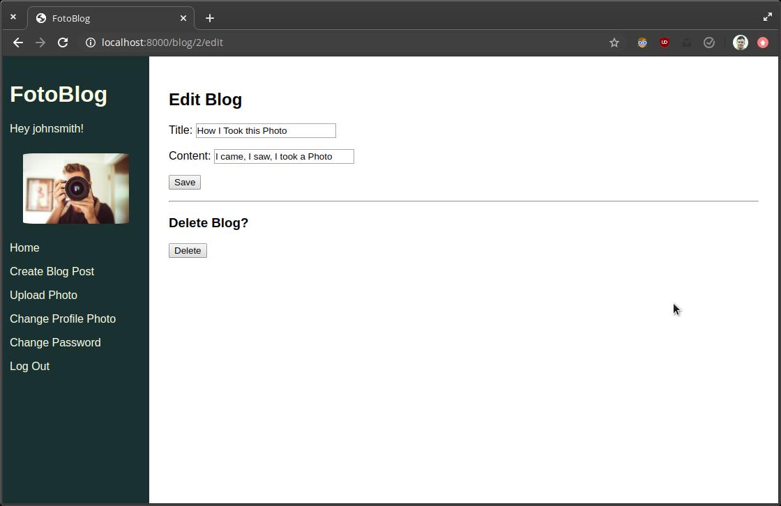 Screenshot edit blog page