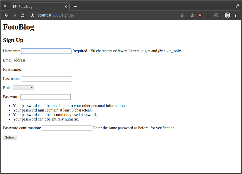 Implement sign-up view with UserCreationForm