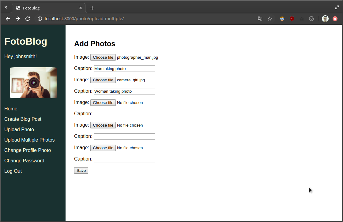 Screenshot of formset page