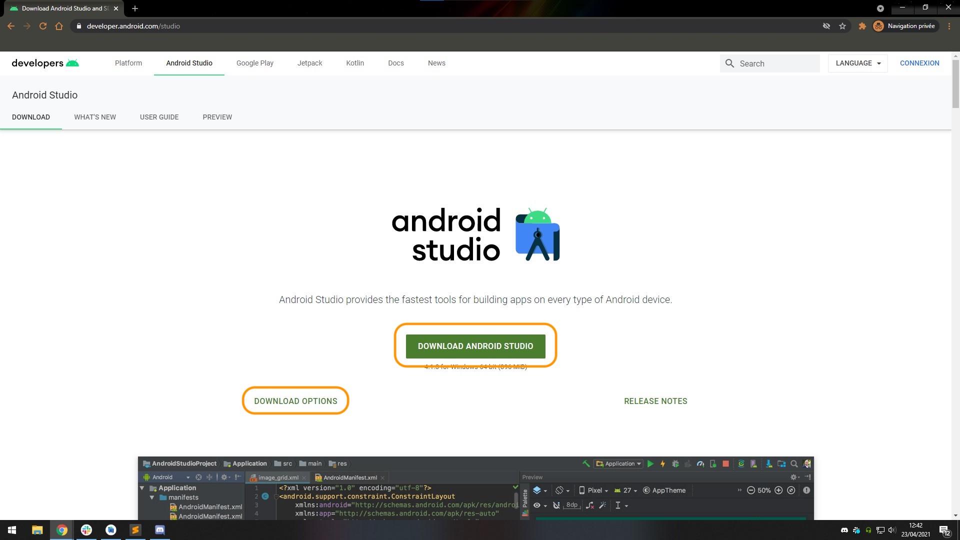 Cliquez sur Download Android Studio ou Download options pour télécharger une version différente