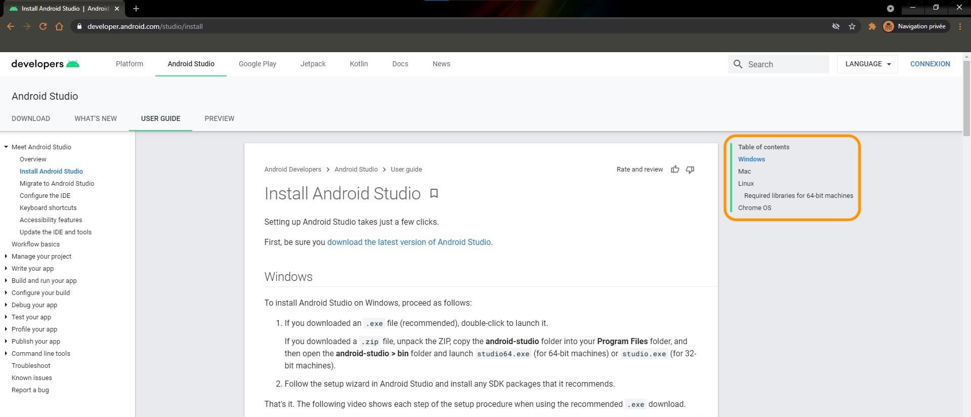 Accédez à la documentation d'Android Studio en haut à droite de votre écran