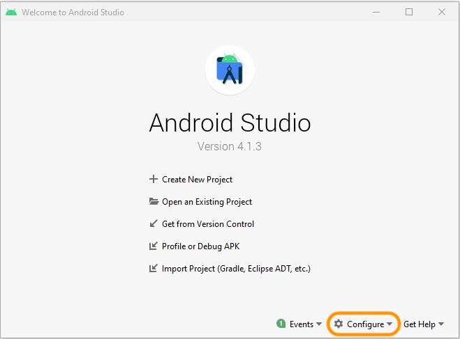 La fenêtre Android Studio s'ouvre après le lancement de l'application. Cliquez sur Configure pour configurer votre environnement.
