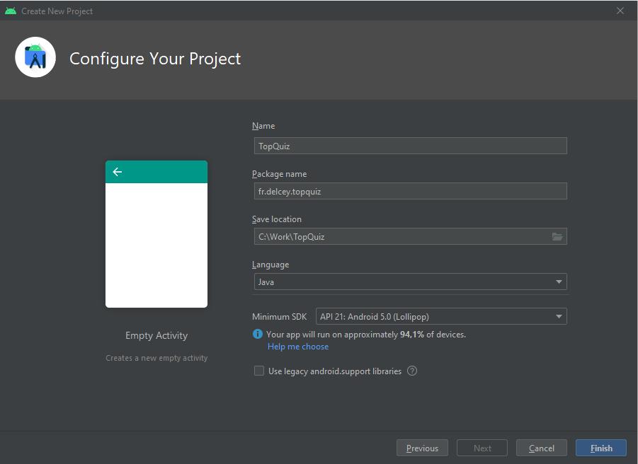 Configurez votre projet en saisissant : le nom de l'application, le nom de package, le chemin du projet et le langage