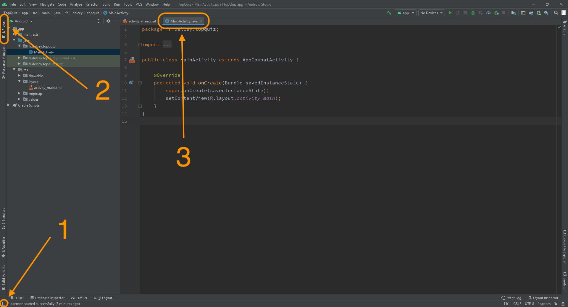 découvrez l'interface d'Android Studio : à gauche l'arborescence des fichiers, à droite le contenu du fichier en cours d'édition