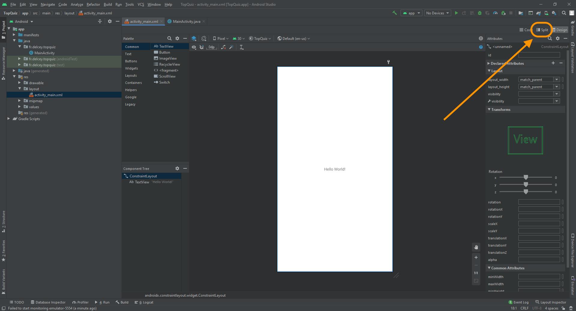 Cliquez sur l'onglet Split pour basculer le layout en mode Text
