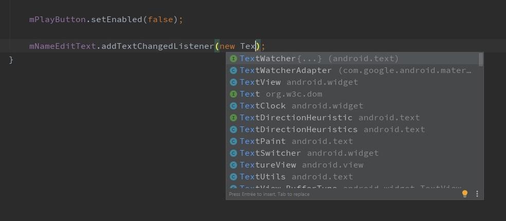 Android vous propose d'implémenter automatiquement l'interface associée