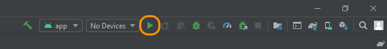 Cliquez sur le bouton de lecture en vert pour lancer l'émulateur