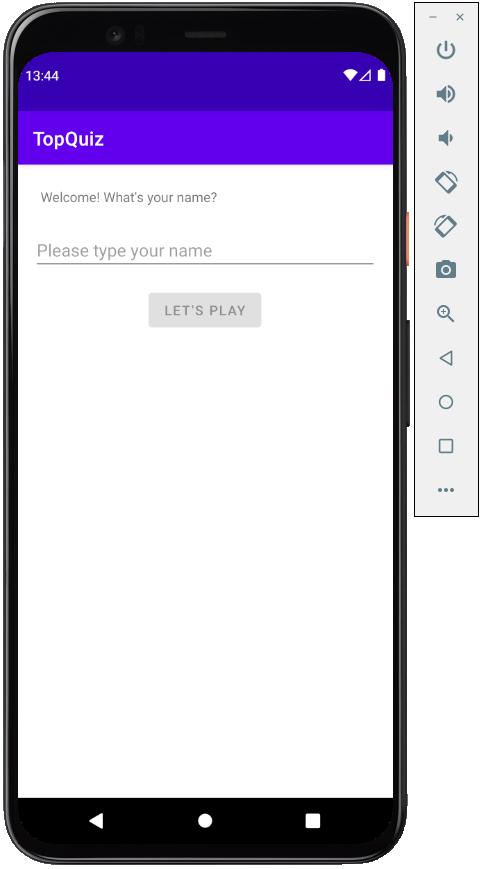 L'application est lancée sur l'émulateur ! Une barre d'outil à droite vous permet de modifier certains paramètres