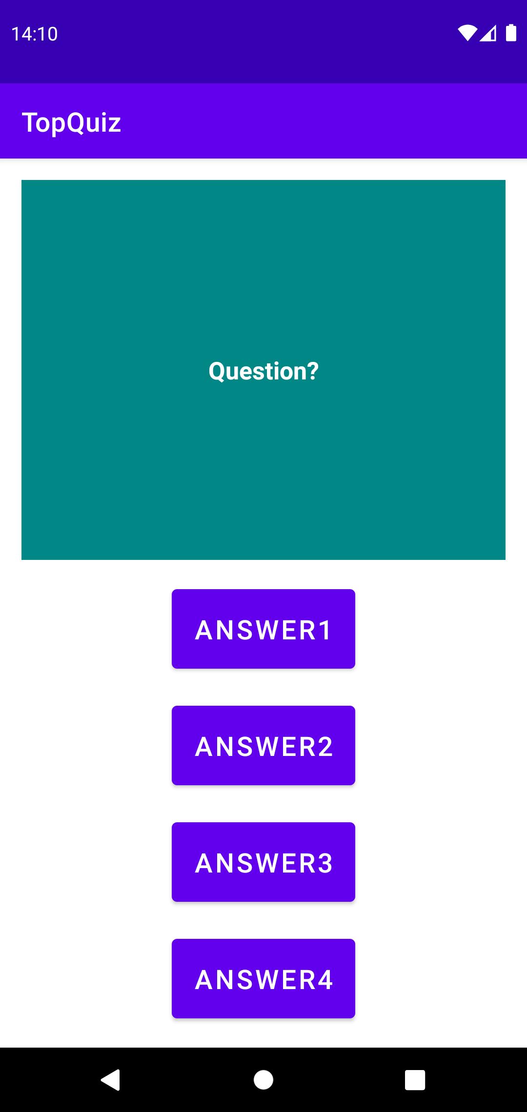 L'interface de la nouvelle activité que vous devriez obtenir