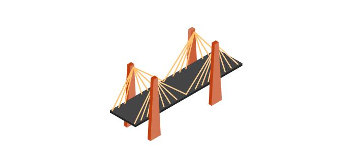 Un pont à haubans, fait de métal et de béton.
