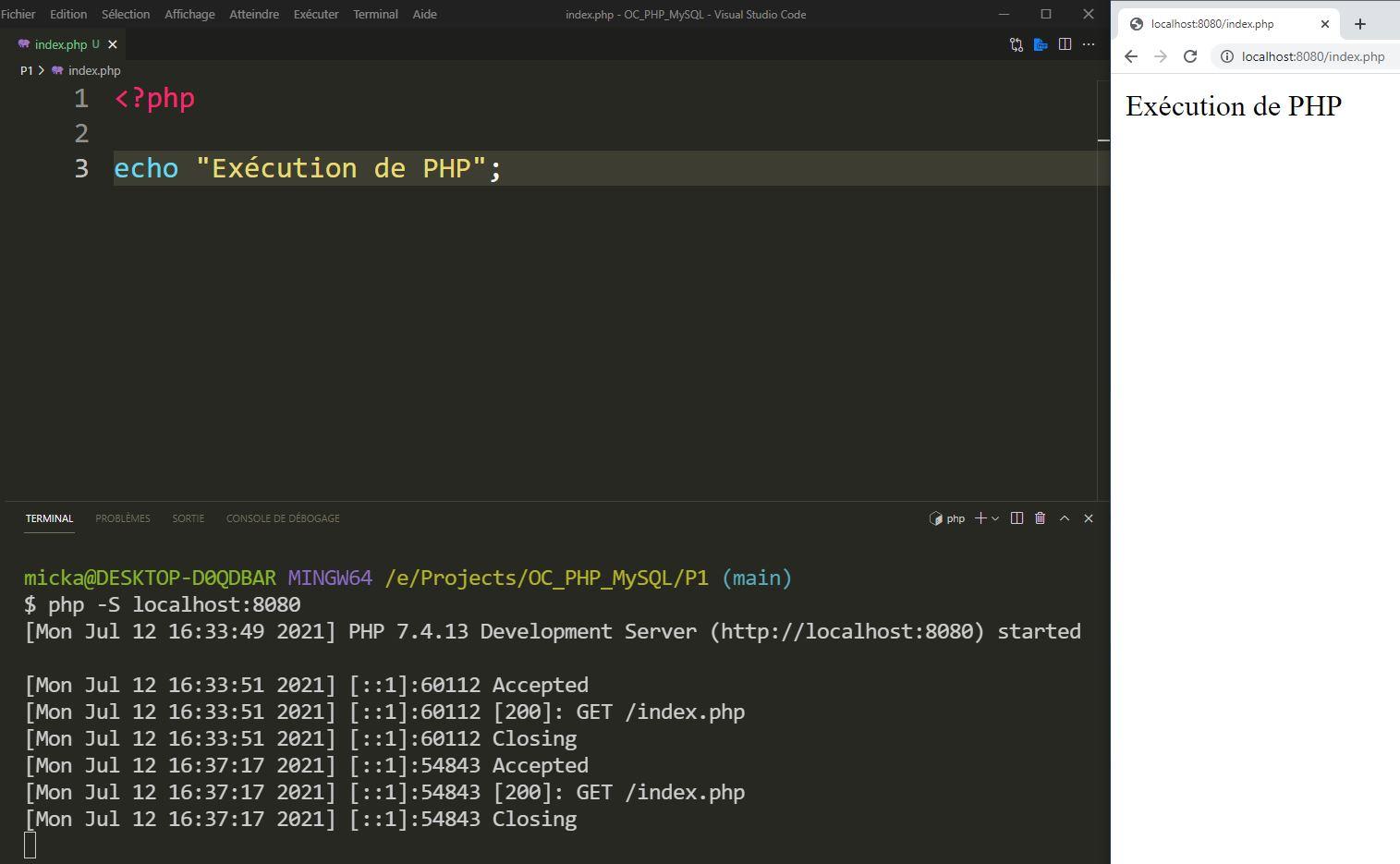 Mise en application du serveur PHP de développement pour afficher un Hello World