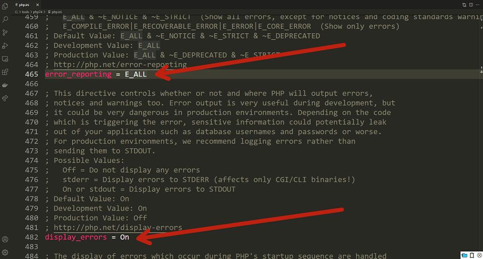 La capture d'écran montre que le reporting et l'affichage des erreurs dans le fichier php.ini sont activés : on peut voir
