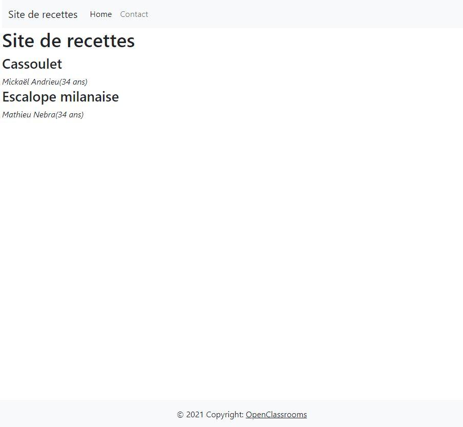 Capture d'écran de l'affichage des recettes actives sur la page web. On voit l'en-tête et le pied de page qui contiennent le menu et le copyright.