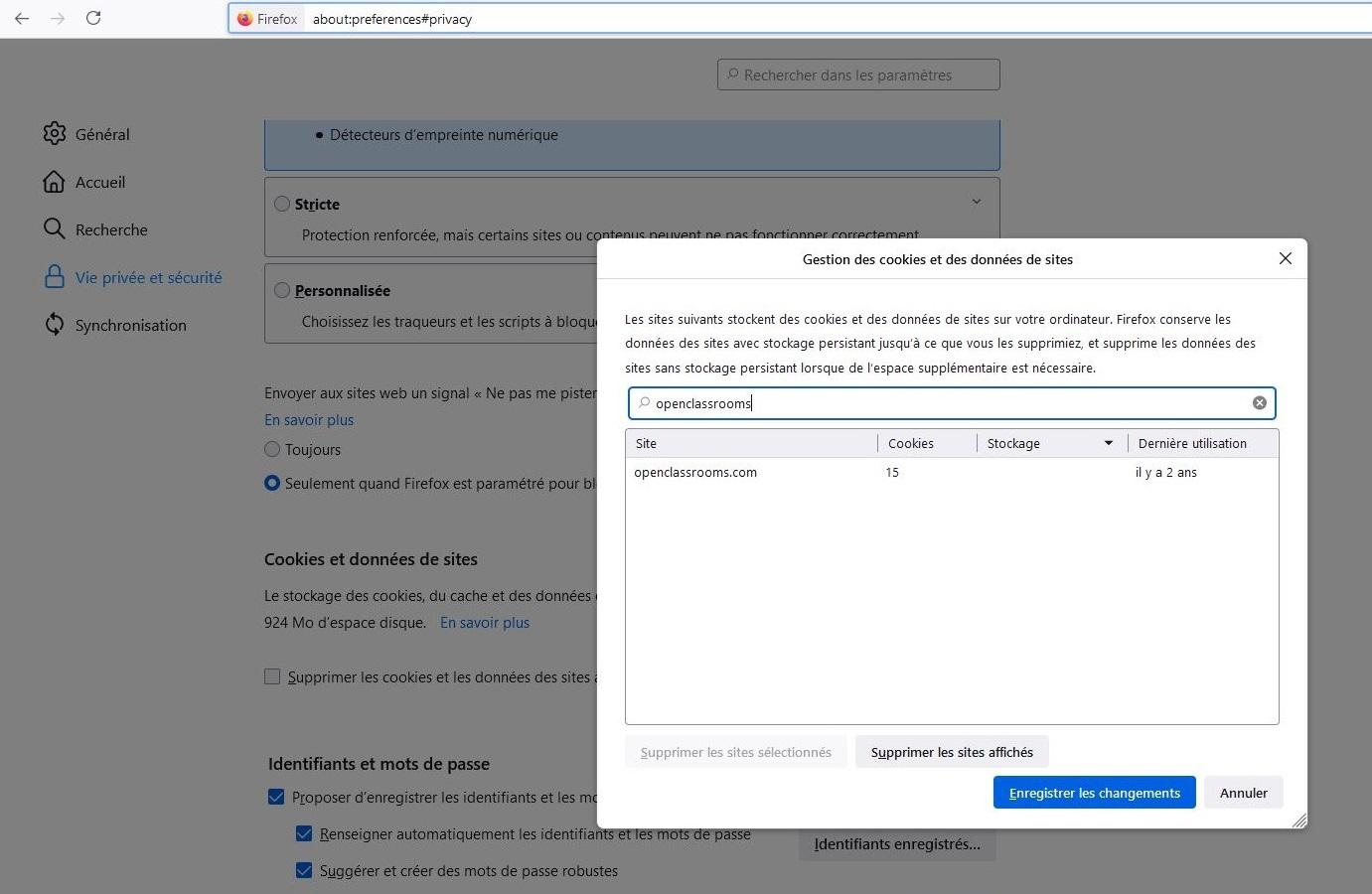 Capture d'écran qui montre la liste des cookies stockés sous Firefox. On voit qu'il y en a 15.
