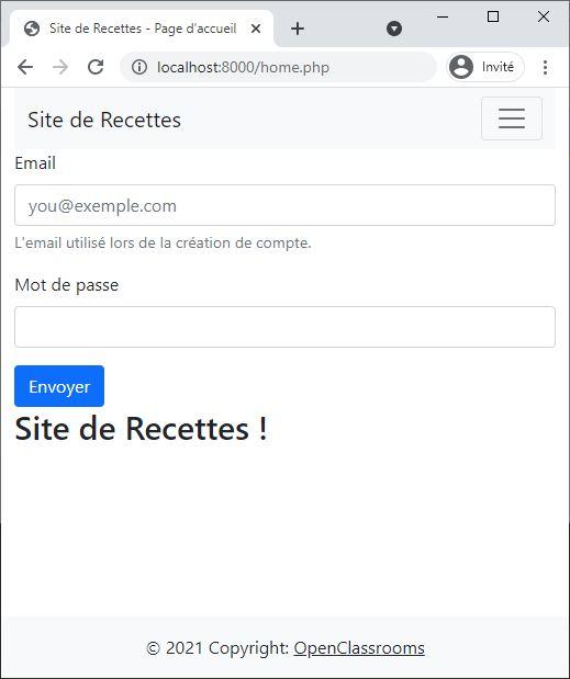 Capture d'écran du formulaire de connexion : il permet d'identifier et d'autoriser les utilisateurs à faire des actions sur le site
