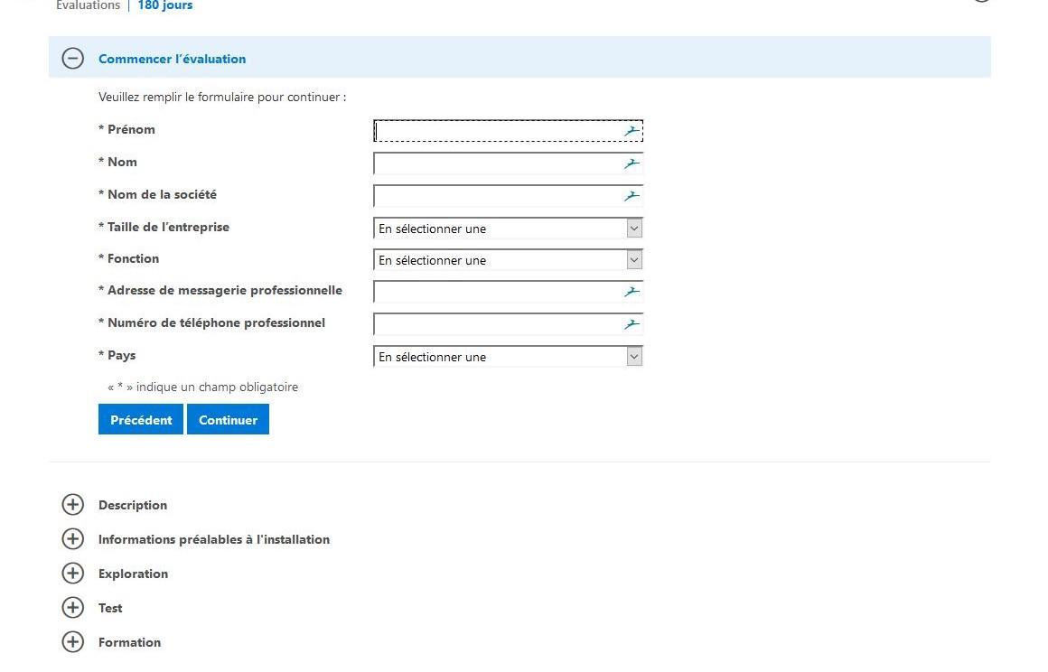 Enregistrement pour l'évaluation de Windows Server 2019 Standard