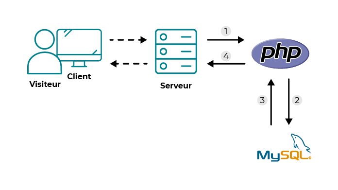 Ce schéma montre le schéma que l'on a vu au début du cours : la relation cleitn serveur. Sauf que celui-ci est compléter par la relation entre PHP et MySQL : le serveur utilise PHP pour générer la page mais demande d'abord à MySQL de vérifier et d