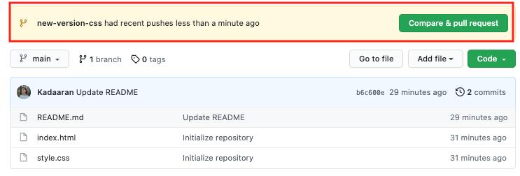 """Le bouton """"Compare & pull request"""" vous suggère de créer une pull request"""