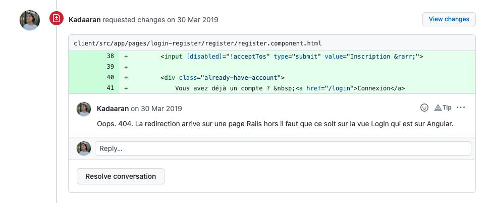 La revue de code permet d'échanger sur une Pull Request